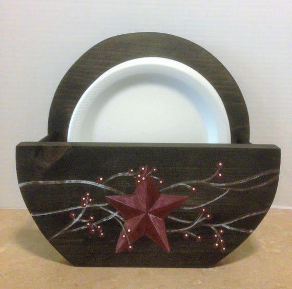 paper plate holder,primitive plate holder,rustic kitchen decor,primitive decor,distressed decor,primitive star,primitive kitchen,black decor