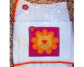 Contemporary baby sheet set for cradle with crochet and a lion pattern. READY TO SHIP