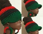 Pan-African Up Top Bun Crochet Baseball Cap with Earrings by Razonda Lee Razondalee Red Black Green