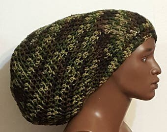 Camouflage Crochet Ultra Mega Tam Hat Cap with Drawstring Unisex Dreadlocks Camouflage by Razonda Lee RazondaLee