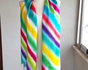 Rainbow scarf Long shawl Batik scarves Colorful women scarves Fringed shawl Autumn fall accessories Gift for her Multicolor vibrant bright