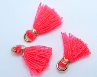 Mini Cotton Jewelry Tassels with Gold Binding and Gold Plated Jump Ring, Coral Tassels, 3 pcs Approx 10mm - MT9