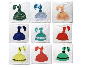 Vintage Applique Quilt Blocks, Vintage Southern Belle Quilt Blocks, 9 Vintage Quilt Blocks, Finish Me Project, Instant Collection, Quilting