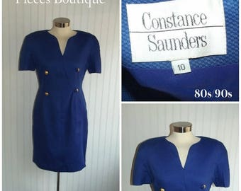 Clear Out Sale 1980s Royal Blue Short Sleeved Designer Dress by Constance Saunders, Nautical Dress, Size M,  #39625