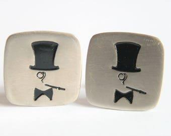 Vintage cufflinks.  Top hat cufflinks.  Vintage menswear