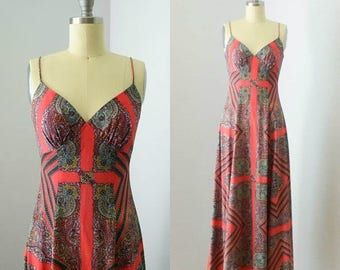 40% OFF SALE - Vintage 1970s Ethnic Print Maxi Dress