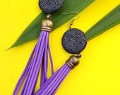 Purple leather earrings// Purple tassel earrings//bohemian tassel earrings//lava jewelry//long tassel earrings//Colorful earrings