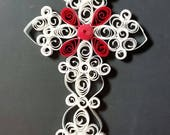 White/Red Quilled Paper Cross