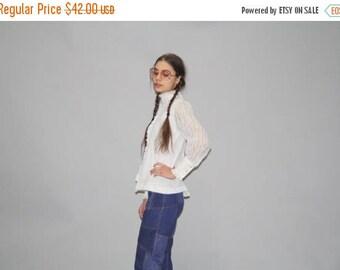 On SALE 45% Off - Vintage 1970s White Lace Victorian Gothic Prairie Blouse - Vintage Lace Boho Blouse - Vintage Lace Top - WT0417
