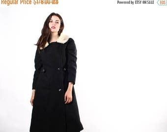 FLASH SALE - 1960s Black Wool Coat  - 60s  Fur Collar Coat  - 1960s Black Long  Coats - The Well Bred Coat - 6016