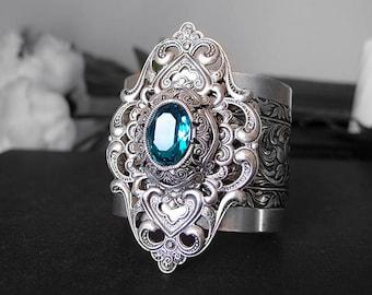 Lavana-- 2 inch Aged silver brass Victorian Swarovski crystal bracelet cuff , Adjustable G003