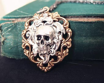 Solid floral heart Victorian skull cameo gothic necklace,S029