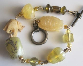 Agate, Glass, Soapstone, and Bone Bracelet with Glass Accents - 7.5 Inches Long