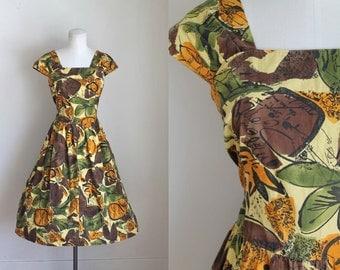 vintage 1990s does 1950s dress - MUSTARD & OLIVE floral sundress / M