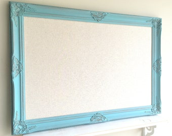 Large BULLETIN BOARD Teal Turquoise Blue Linen Fabric Board Wedding Seating Chart Holder Distressed Wall Decor Gold Vintage Framed Magnet