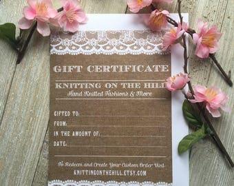 GIFT CERTIFICATE - Paper Gift Certificate - Knitting Gift Certificate - Rustic Gift Certificates - Gift Card - Rustic Invitation - Yarn Gift