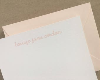 Blush Script Note - Baby Stationery,Note Cards, Personalized Stationery Note Card Set, Kraft Note Card, hostess gift