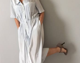 ice blue industrial shirtdress // layering oversized day dress // button front pocket shirtdress