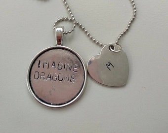 Imagine Dragons - Necklace Handstamped with your initial charm