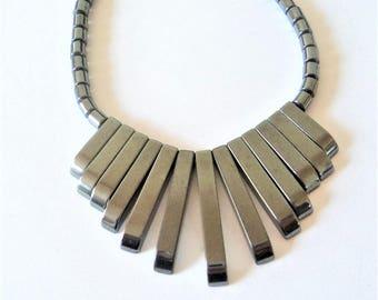 c.1980s Hematite Fan Necklace... Art Deco Style