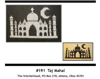 PDF E pattern emailed, Taj Mahal, India, Cross Stitch Pattern Sampler Design Sampler 191