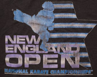 New England Open Karate T-Shirt, Super Fly Afro Fighter, Vintage 80s-90s, National Championships, Martial Arts Graphic Tee