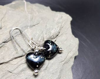 Quirky Heart Lampwork and Sterling Silver Earrings - Blackheart