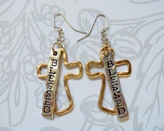 Blessed Cross Silver and Gold Earrings (3733)