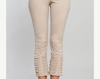 BIG SUMMER SALE 25% Off Cotton stretch Leggings with Ruffles - yoga pants - 3/4 Leggings - gypsy tights - women clothing