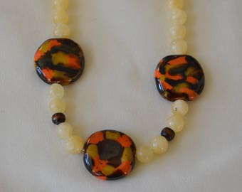 Earth Tone Kazuri Necklace and Earrings