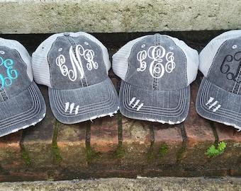 Ladies Monogram Distressed Trucker Hat - Monogrammed Trucker hat - Monogram Raggy Trucker Hat - SALE SALE