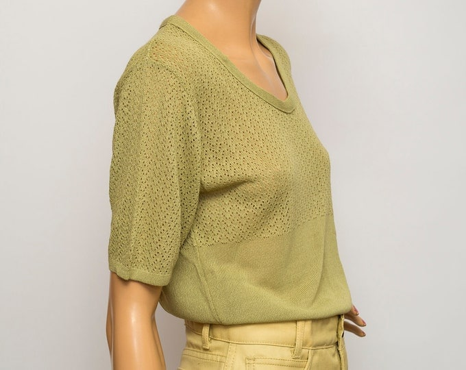 Vintage 90s top green sweater deadstock