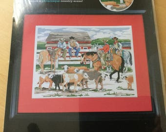 Back At The Ranch - New Sealed Counted Artiste Cross Stitch Kit, Ranch Cowboy Country Sampler Kit, Western Farm Ranch Cross Stitch Decor