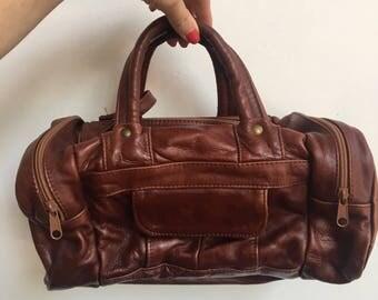 Brown Leather Mini Duffle Bag Purse