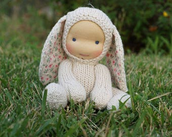 "Waldorf doll Bunny  8,5"" Gifts for Children, Toddlers Newborn Girls Boy Children birthday knitted toy kids gift"