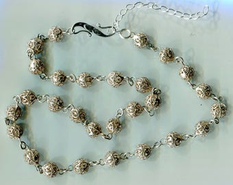 Antique Victorian Filigree Sterling Silver Bead Necklace N390