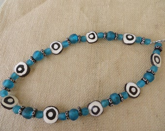 Blue Recycled Ghana Glass And Kenyan Cow Bone Bead Necklace