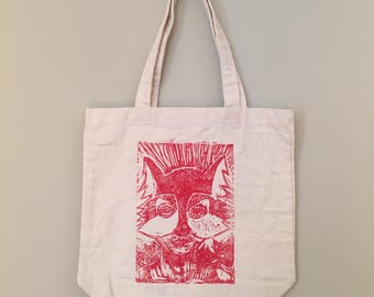 Wolf Pack, Canvas Tote Bag, LINOLEUM Block Print, hand printed, fine art, wolves