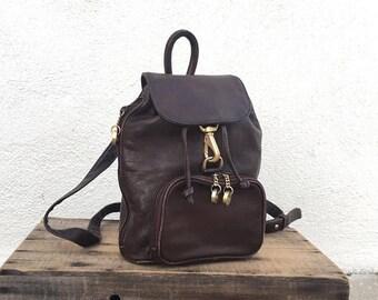 SALE 90s Mini Backpack Rucksack Purse Brown Leather Raver Grunge Trend boho Travel Bag