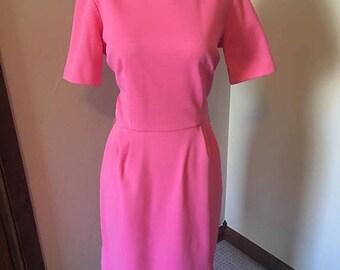 ON SALE NOW 50s 60s perfect pink dress / 1960s pink secretary dress / mad men wiggle dress / size 8 10