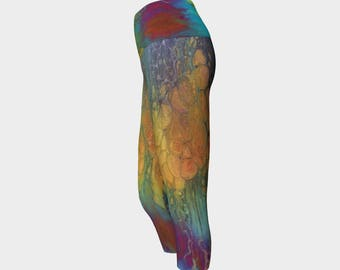 "Yoga Capri Leggings ""Firefall"" Pattern 951, Yoga Pants, teal, turquoise, orange, black, pink, green, gray, Wearable art"