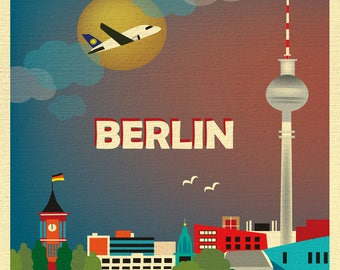 SALE Berlin Germany Greeting Card, Berlin skyline, Berlin art, Berlin Germany art, Berlin greeting card, art style O-BER