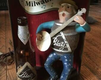 Vintage 1950's Blatz Beer Mancave Light Cast Iron Banjo Barrel Keg Working