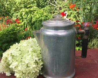 Vintage aluminum coffee pot, stovetop a perk pot, aluminum percolator coffee pot