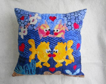 Beach Themed Patchwork and Applique Fish Pillow