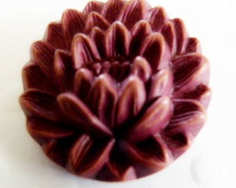 Vintage Buffed Celluloid Button  Flower Realistic