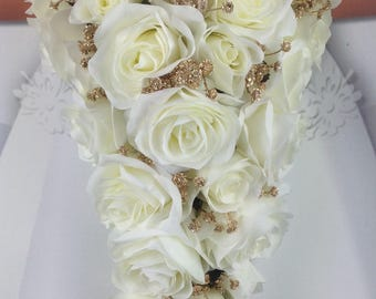 """New Artificial White and Gold Wedding Teardrop Bouquet, 18"""" in length with Gold Baby's Breath and White Roses"""