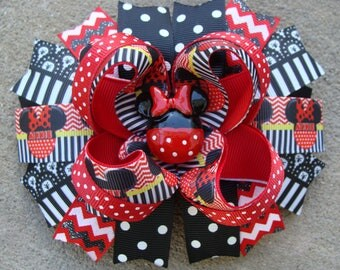 Minnie Mouse Hair Bow Large Hair bow Red and Black hair bow chevron Minnie Mouse Hair Bow boutique hair bow minnie mouse large hair bow