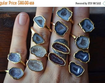 MEMORIAL DAY SALE Lux Divine /// Semi Adjustable Geode Wrap Ring /// Stackable Gemstone Gold Electroformed Ring