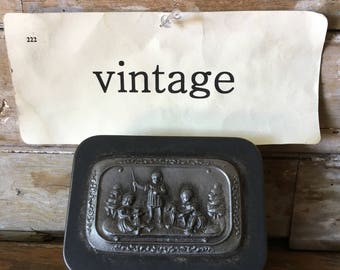 Vintage Pewter Jewelry Box Children Imbossed picture  1940's